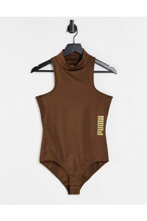 Puma High neck bodysuit in brown