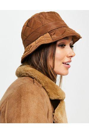 ASOS DESIGN Quilted bucket hat in brown