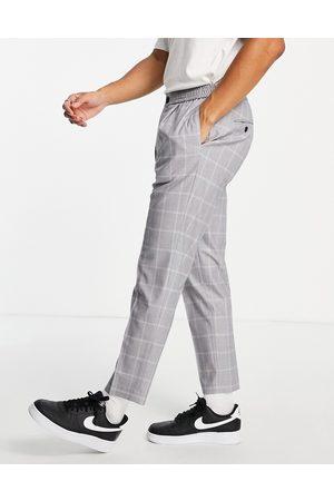 Topman Taper check trousers in grey