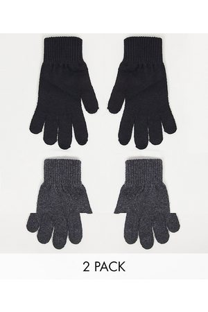 ASOS DESIGN 2 pack touch screen gloves in recycled polyester in black and charcoal