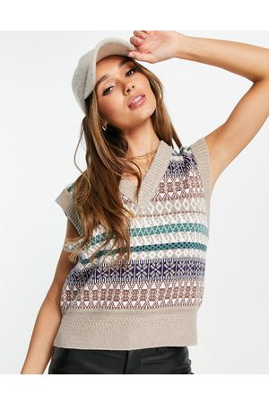 Y.A.S Printed knitted vest in cream
