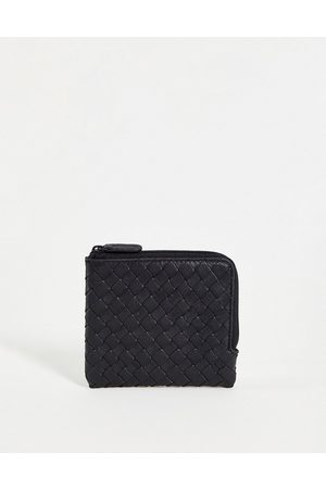 ASOS DESIGN Leather zip around wallet in black with weave