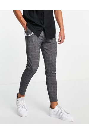 Mauvais Check smart trousers with frosted chain in grey