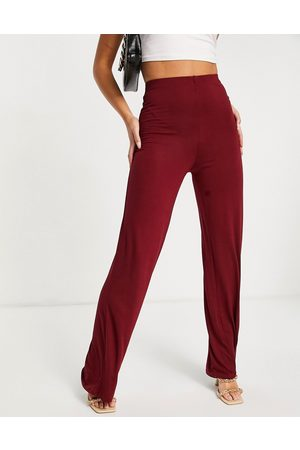Flounce London Basic high waisted wide leg trousers in wine