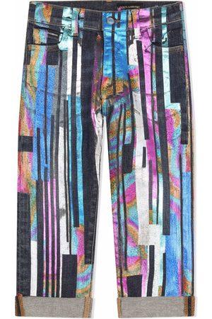 Dolce & Gabbana Kids Jeans rectos con motivo de pintura
