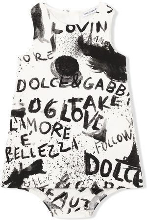 Dolce & Gabbana Kids Vestido sin mangas con estampado de grafiti