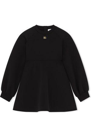 Dolce & Gabbana Kids Vestido estilo suéter tejido con placa del logo
