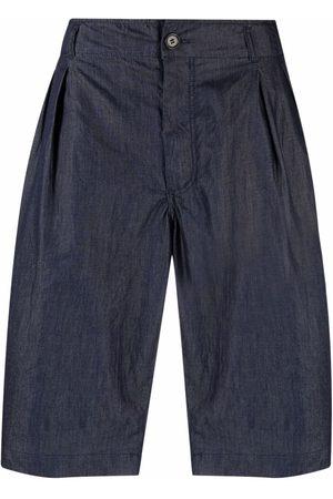 Comme Des Garçons Shirt Pleat-detail knee-length denim shorts