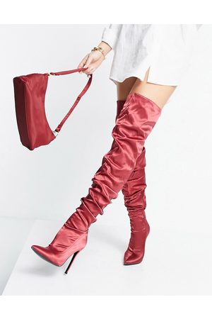 ASOS DESIGN Kammi ruched satin over the knee boots in red