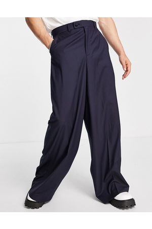 ASOS Extreme wide leg suit trousers in navy