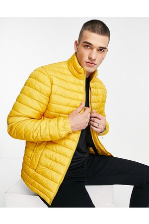 Selected Homme Quilted jacket made from recycled bottles in yellow