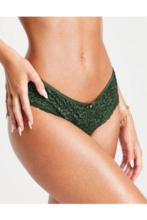 Hunkemoller Rose lace brazilian brief in khaki green