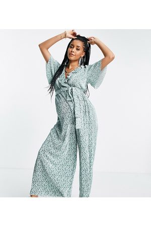 ASOS DESIGN Mujer Largos - Maternity frill wrap plisse jumpsuit in sage green floral