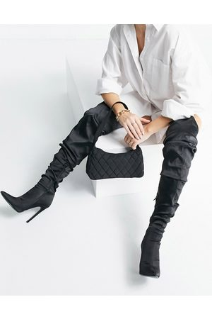 ASOS DESIGN Kammi ruched satin over the knee boots in black