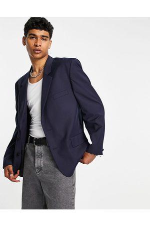 ASOS Power shoulder suit jacket in navy