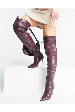 ASOS DESIGN Kempton pull on over the knee boots in burgundy
