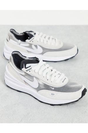 Nike Waffle One mesh trainers in white and grey