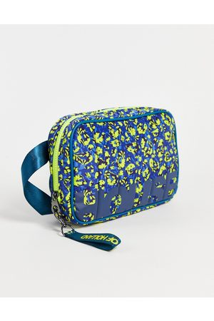House Of Holland Logo pattern backpack in blue