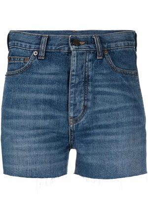 Saint Laurent Mujer De mezclilla - Raw-cut denim shorts