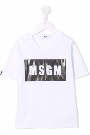 MSGM Kids Box logo-print cotton T-shirt