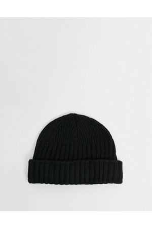ASOS DESIGN Mini fisherman beanie hat in recycled polyester in black