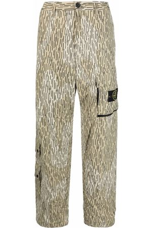 Stone Island Stripe-print straight-leg cargo trousers