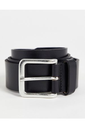 ASOS DESIGN Leather wide belt in black with burnished silver buckle