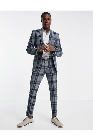 ASOS DESIGN Hombre Slim y skinny - Super skinny suit trousers with tartan check in grey