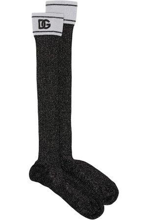 Dolce & Gabbana Mujer Calcetines - Calcetines midi con logo estampado