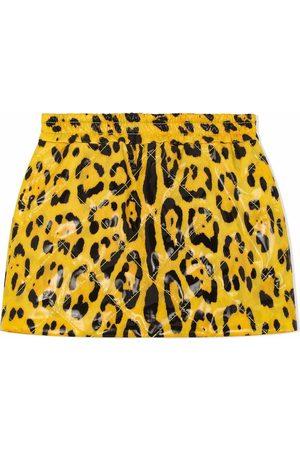 Dolce & Gabbana Kids Niña Faldas - Falda corta con estampado de leopardo