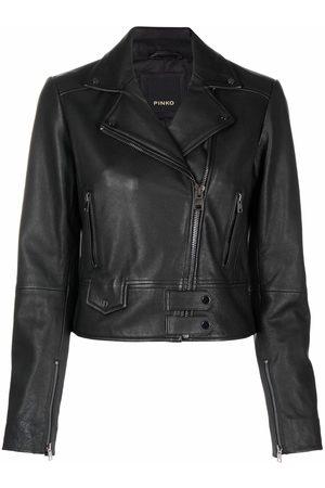 Pinko Mujer De piel - Logo-embossed cropped leather jacket