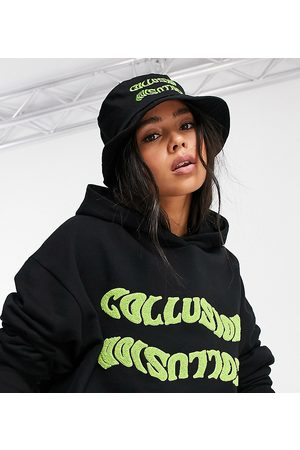 COLLUSION Embroidered bucket hat in black