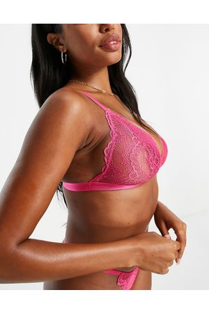 ASOS DESIGN Fuller Bust Rosie lace triangle bra in hot pink