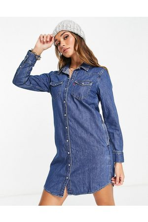 Levis Levi's the ultimate western denim shirt dress in mid blue