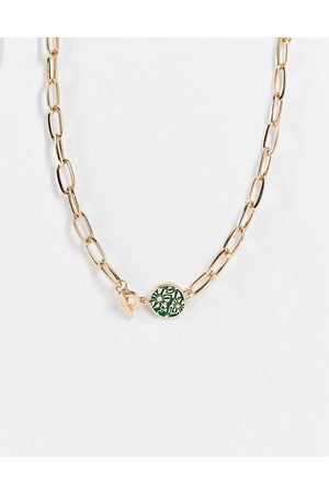 Icon Brand Enamel chain necklace in gold