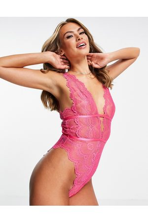 ASOS DESIGN Rosie lace soft plunge body in hot pink