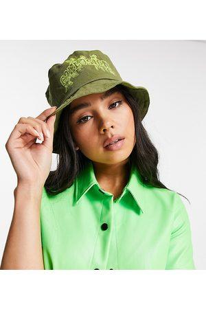 Collusion Leaf print bucket hat in khaki