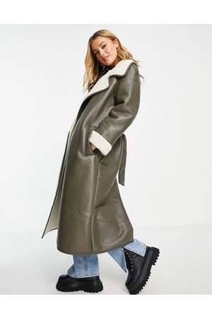 ASOS Faux leather borg bonded belted maxi in khaki