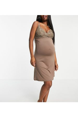 Mama.licious Mamalicious Maternity nursing night dress with lace detail in brown