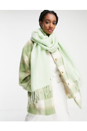 ASOS DESIGN Supersoft long woven scarf with tassels in ice green