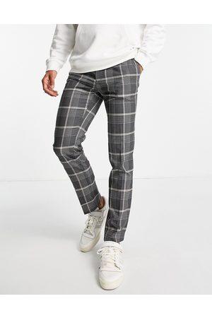 River Island Skinny check trousers in black and ecru