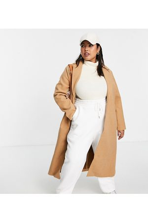 Simply Be Single breasted formal coat in camel