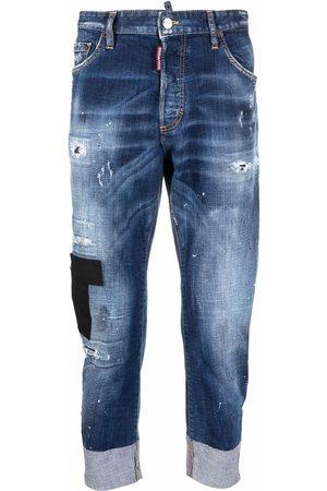Dsquared2 Hombre Jeans - Vaqueros capri con diseño patchwork