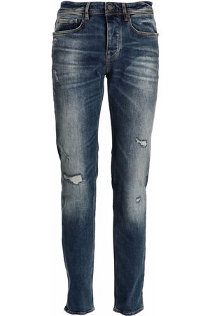 HUGO BOSS Distressed tapered-fit jeans