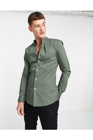 ASOS Hombre Camisas - Muscle fit shirt with grandad collar in khaki