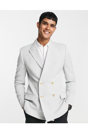 ASOS Hombre Sacos - Wedding skinny blazer with gold buttons in ice grey