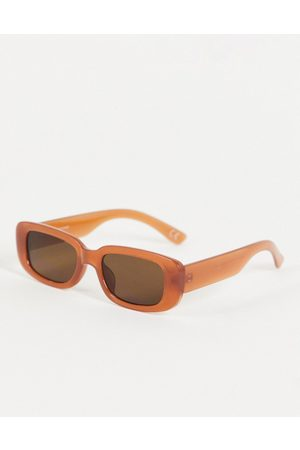ASOS Hombre Lentes de sol - Mid rectangle sunglasses in brown with tinted lens