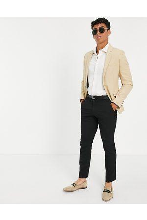 ASOS Wedding super skinny suit jacket in camel micro texture