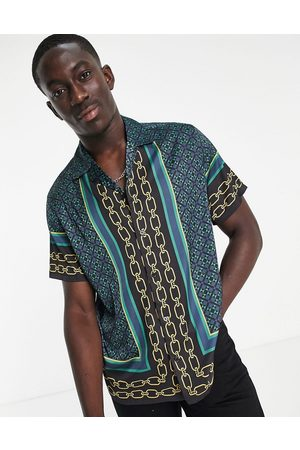 ASOS Relaxed revere shirt in satin with border print