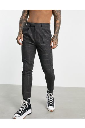 ASOS Tapered trousers in wool mix check in grey